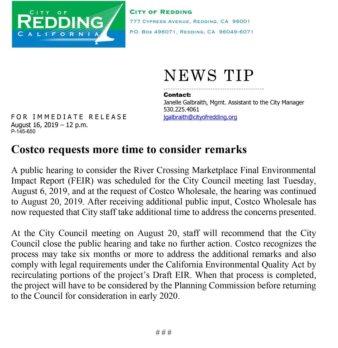 News | City of Redding